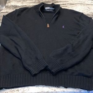 Black and purple Polo half zip sweater